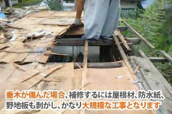 垂木が傷むと屋根材、防水紙、野地板を剥がしての作業になるので工事が大規模になる