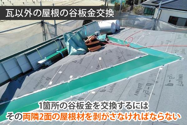 瓦以外の屋根の谷板金交換は意外と大変