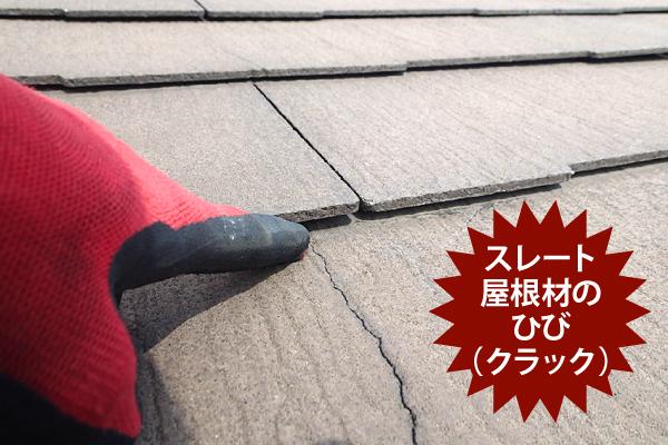 スレート屋根材のひび(クラック)