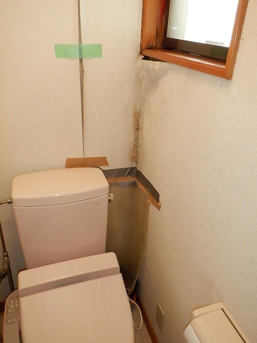 雨漏りによりトイレのクロスの剥がれ