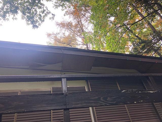 表面が剥がれたベニヤの軒天井
