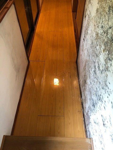雨漏りで濡れた廊下
