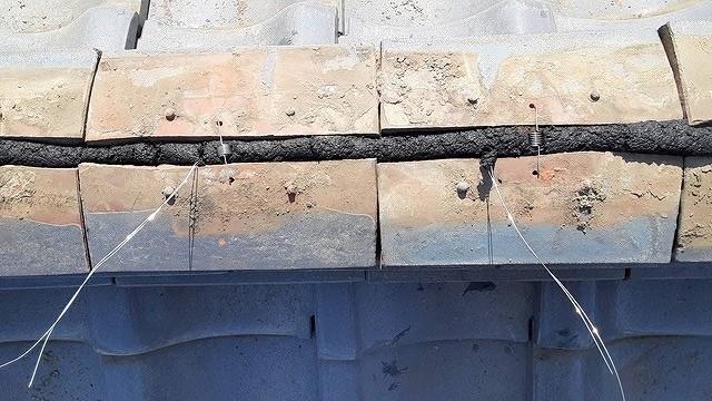 南蛮漆喰で積み上げたのし瓦真上から見て