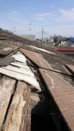 コロニアルの屋根の瓦がずれてルーフィングシートが破れて下地の野地板が傷んで穴が開いてしまった状態