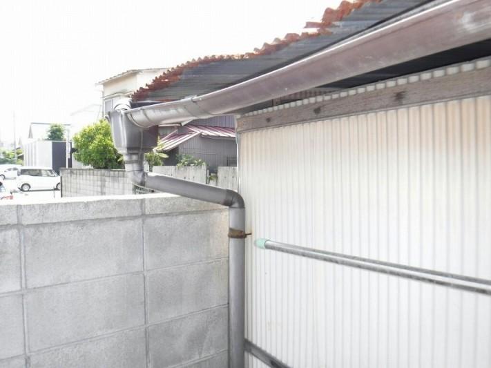 小屋の波板と雨樋集水器のところ