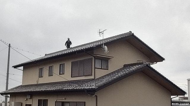 瓦屋根の大棟を調査しているところ