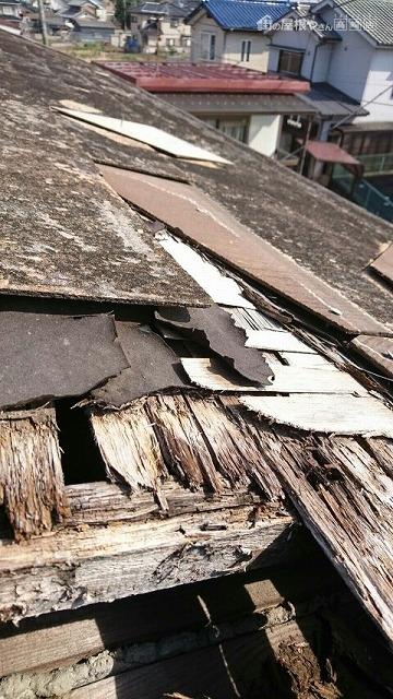 コロニアルの屋根の瓦がずれてルーフィングが破れて野地板に穴が開いた状態