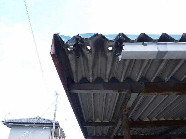 車庫の雨どい撤去された状態