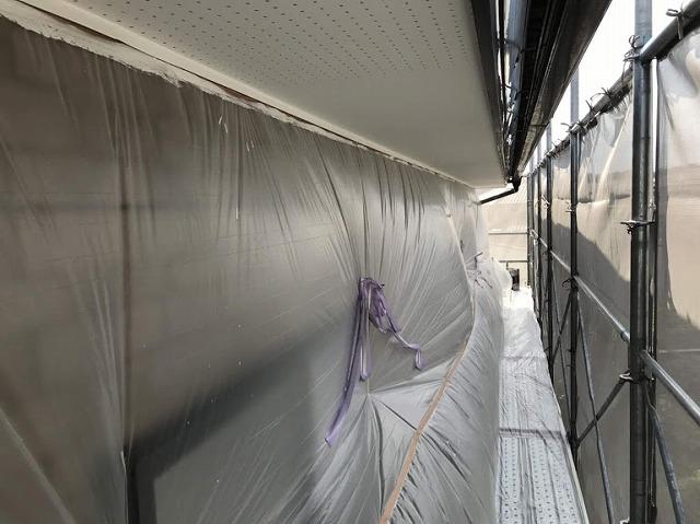 足場から見た塗装後の軒天井