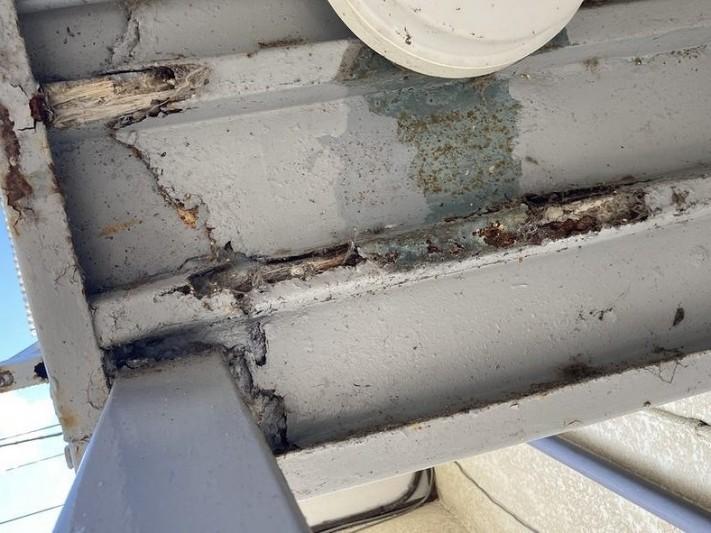 鉄骨部分の天井のサビによる腐食