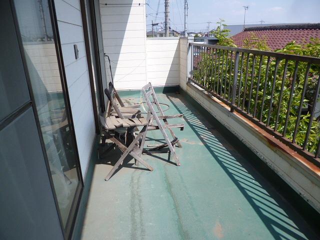 ベランダ工事前防水シート