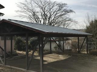 車庫の屋根の塗装完了後の全景
