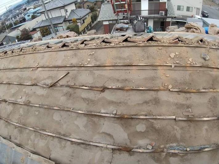 平瓦外した後の屋根の防水シート(ルーフィングシート)