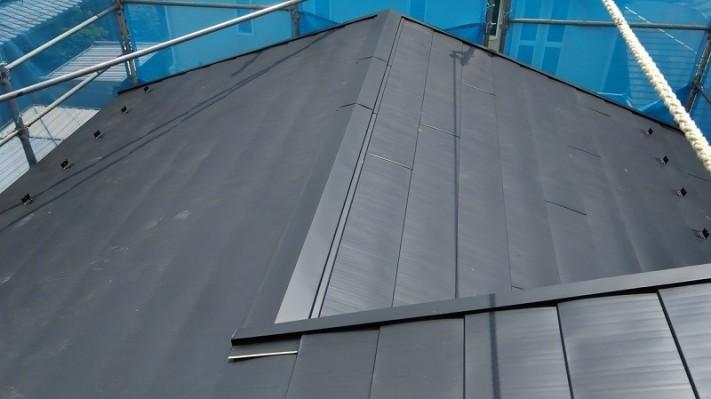 ガルバリウム鋼板で吹き替えた屋根