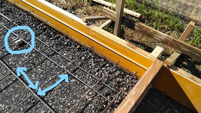 土間コンクリート用の型枠と鉄筋とスペーサーブロック