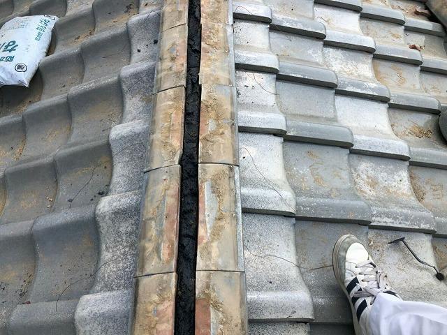 南蛮漆喰とのし瓦真上上から見て