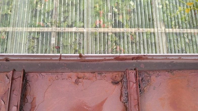 雨樋の中の雨水