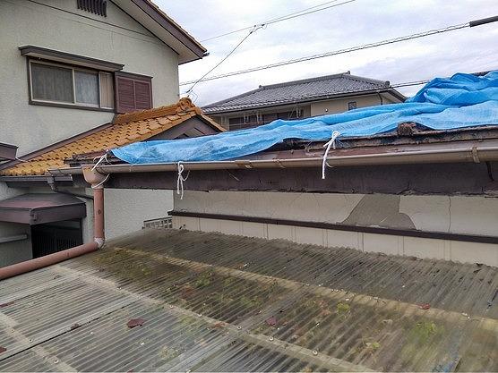波板の上の雨樋とブルーシートと欠けた漆喰壁