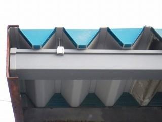 車庫の雨どいと折板屋根修理完了