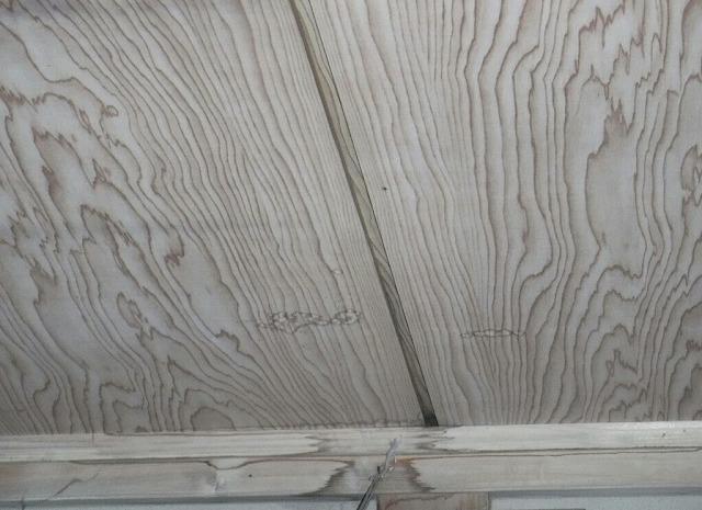 和室の天井際廻り縁の雨漏りのシミ