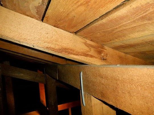 垂木に付いた雨漏りのシミ