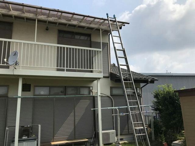 2階の波板まで長梯子を立てかけているところ