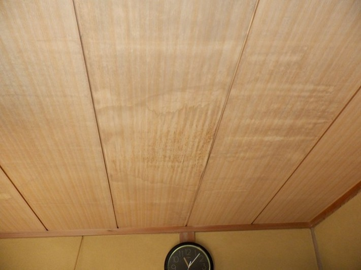 和室天井の雨漏りのシミ南から見て