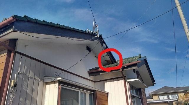 軒天井のめくれているところ