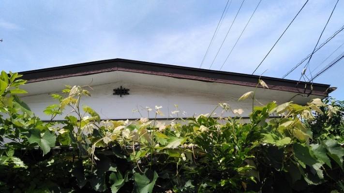 破風板とすき間のできた軒天井