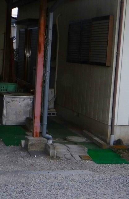 車庫雨どい雨水桝へのつなぎこみ完了