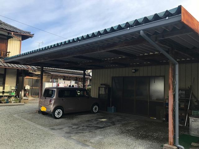車庫の雨どい工事完了