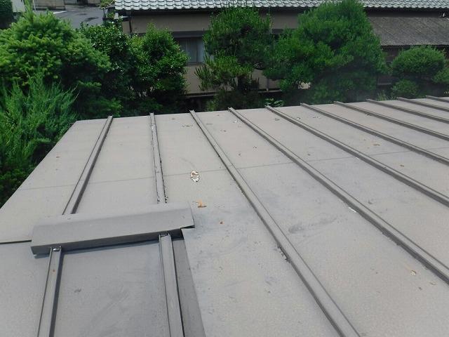 板金屋根の塗膜の穴全景