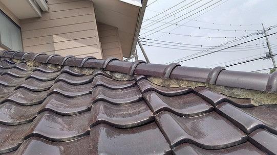 隅棟の劣化した漆喰