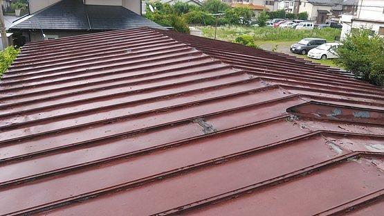 雨の日のトタン屋根