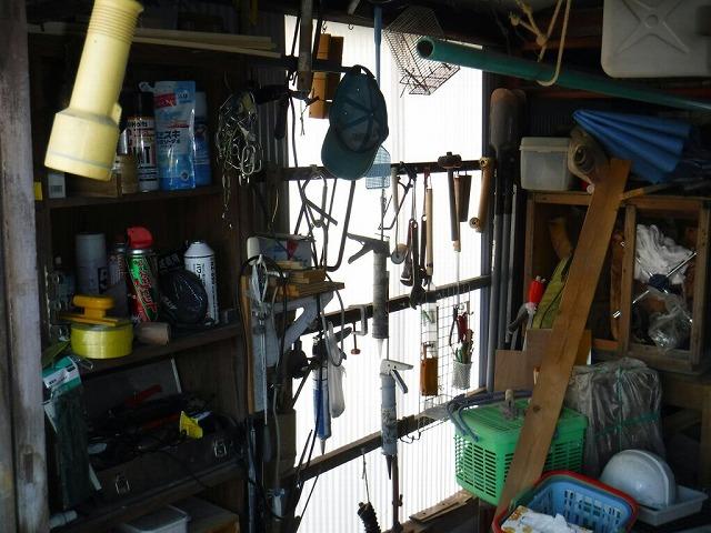 農機具小屋の明かり取りを内側から見て