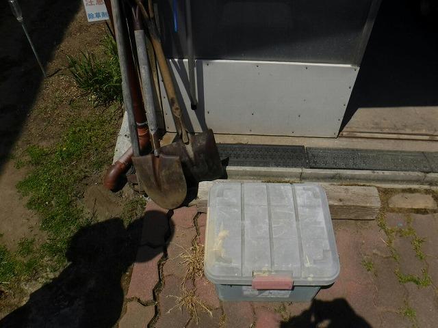 農作業小屋の雨樋の排水溝