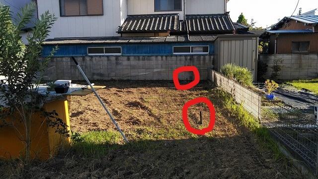 土間コンクリート打設のための初期のくい打ち右側