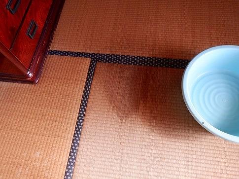 畳に付いた雨漏りのシミ