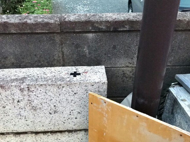 石のブロックにコア抜きするための印