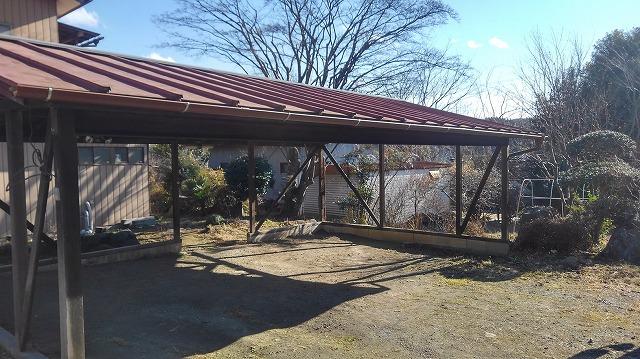 車庫の屋根の雨どい取り付け後