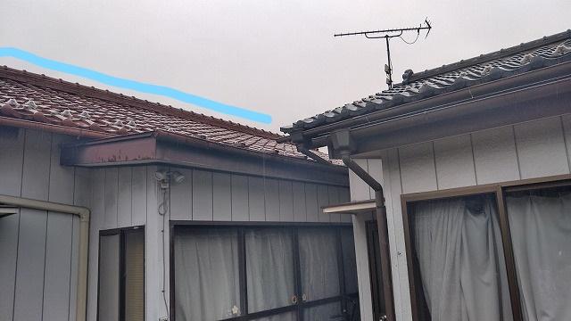 棟瓦の積み直しをした屋根