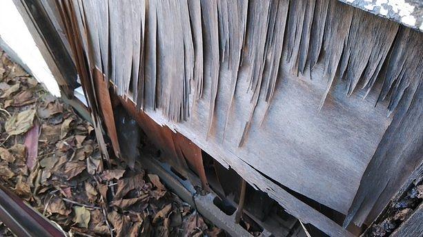 プレハブ小屋の外壁の下部の合板の剥がれ