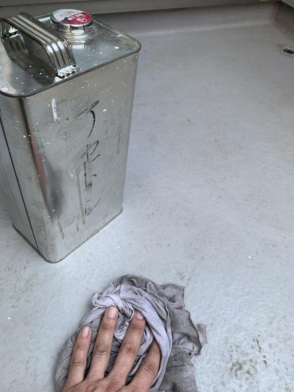 FRP防水のバルコニーのアセトン葺き掃除