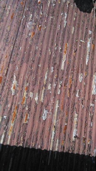 塗装の傷んだトタン波板真上