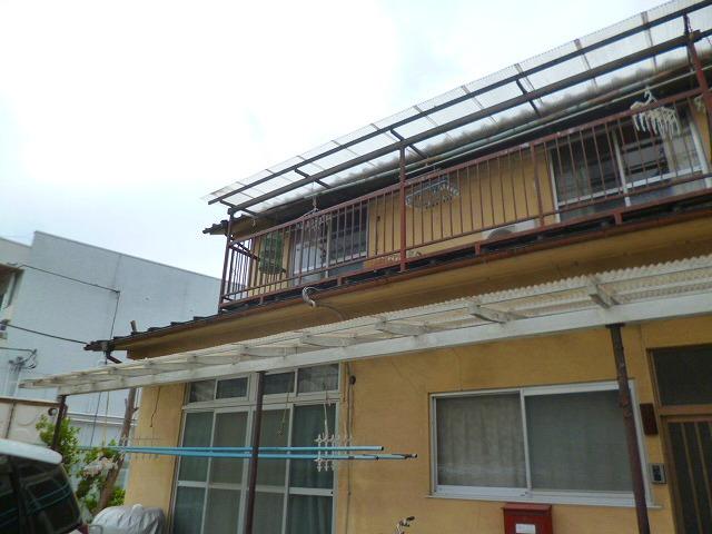 2階のテラス屋根交換前と塗装前