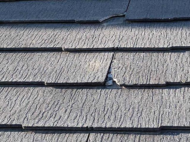 屋根のスレート瓦の欠落箇所